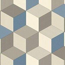Cubes Blue Vinyl Bodenbelag Stahlblech * * PROBE nur * *