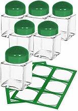 CUBI Mini-Streuer grün, 6 Stück plus 12 Etiketten, Salzstreuer, Salz und Pfeffer,Gewürzstreuer aus Glas