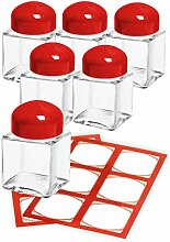 CUBI Mini-Streuer rot, 6 Stück plus 12 Etiketten, Salzstreuer, Salz und Pfeffer,Gewürzstreuer aus Glas