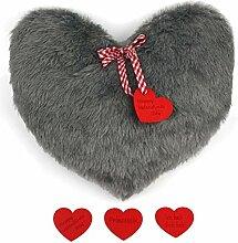 CuciCuci Herzkissen in grau zum selber Nähen DIY Schnittmuster Kuschelkissen Plüsch Geschenkidee passend zum Valentinstag inkl. Nähanleitung