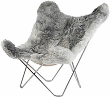 cuero Iceland Mariposa Butterfly Chair Sessel, grau Island Lammfell Shorn Grey Gestell chrome ma