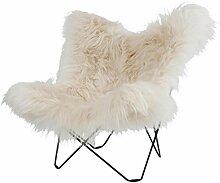 cuero Iceland Mariposa Butterfly Chair Sessel, weiß Island Lammfell Wild White Gestell schwarz