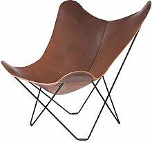 cuero Pampa Mariposa Butterfly Chair Sessel, dunkelbraun Chocolate 67 Gestell schwarz