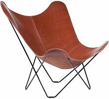 cuero Pampa Mariposa Butterfly Chair Sessel, mittelbraun Oak 71 Gestell schwarz