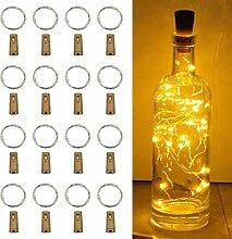 CUFUN Art Weinflasche Lichter mit Kork, 16 Pack