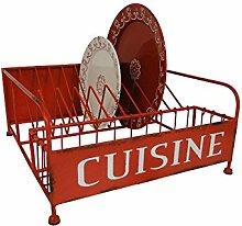 CUISINE Abtropfständer Abtropfgitter für Geschirr und Besteck Vintage Red