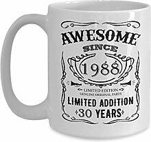 Cukudy 30 Geburtstag Tasse Happy 30th Thirty Years