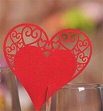 CULASIGN 100 Stück Tischkärtchen Weiß Herz