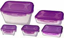 culinario 5er Set Cloc Frischhaltedose, Vorratsdose lila, in 5 Größen: 330 ml, 600 ml, 1,2 l, 2,0 l und 4,7 l