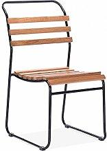 Cult Living Bauhaus Stapelbarer Stuhl Mit Lattensitz - Schwarz