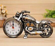 Cunclock 1 Pc kreative Wecker Studenten & Bett Erwachsener Clock Motor Style Wecker Cooler Wecker Home Geschenke. Silber, 01.