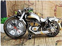 Cunclock Die Uhr kreative pastorale Studenten Bett Kinder Schlafzimmer Kleine Wecker Batterie. Motorrad (Silber)