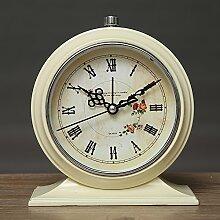 Cunclock Europäischen Studenten Mute Alarm Clock Clock Simple Mode kreativ Retro Metall Bett faul Wecker Beige Rom Blumen