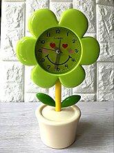 Cunclock Kreative Blumen Studenten Mute elektronische Bett niedliche Kinder Persönlichkeit Cartoon Mode Einfache Schlafzimmer Kleine Wecker Grün Sonnenblumen