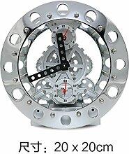 Cunclock kreative Geschenke Heimtextilien Schmuck Kunst Retro Clock Gang Zimmer Bell Wecker Silbrig