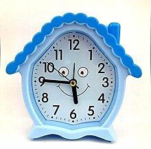 Cunclock Kreative kleiner Wecker Mode Persönlichkeit faule Studenten Kinder Wecker Schlafzimmer Bett elektronische Uhr als 982 House Blue