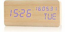 Cunclock kreative Wecker stumm Schlafzimmer Bett elektronische Uhr Kalender Uhr leuchtende Ornamente drei Holz Farbe Blau Led