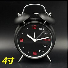 Cunclock Mit den leuchtenden einfachen Wecker Creative Student am Bett des Multifunktionshebels Mini's Uhr Kinder niedliche kleine Wecker 4 Zoll Schwarz Wecker stumm