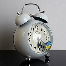 Cunclock Modernes, minimalistisches Kreative stillen Alarm helle Schlafzimmer Bett Bell Bell Super Studenten 1285 Weiß