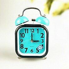 Cunclock Mute Studenten Wecker Bett Idee Kinder einfache Persönlichkeit Männer und Frauen mit Licht alte Ultra Sound Glocke Clock Blue Bell