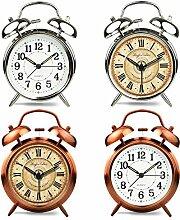 Cunclock Retro Style mechanische Glocke Klein Alarm stumm Nach Bett Desktop Clock Hell und kreativen Studenten 4 Zoll Solid weiß