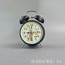 Cunclock Stumm mit leuchtenden einfachen Wecker Creative Student am Bett des Multifunktionshebels Mini's Uhr Kinder niedliche kleine Wecker europäischen Zeiger Schwarz 3 Zoll
