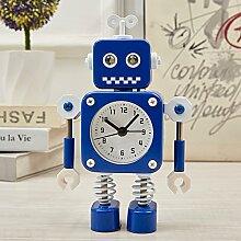 Cunclock verformt Roboter Alarm Clock Kinder Student persönliche kreative Wecker Cartoon Cute Wecker am Bett Wecker Blau Antenne Roboter