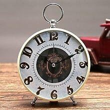 Cunclock Wenn der Alarm Clock Clock Kopf Mute Studenten kreative pastorale Nostalgie Retro Mode Persönlichkeit kinder Bett kleine Wecker einzelnen Reis