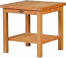 Cuneo 2 Ebenen Teakholz Beistelltisch, 50x50cm ✓ Wetterfest ✓ Nachhaltig ✓ Robust | Hochwertiger Abstelltisch aus Massivholz für draußen | Teak-Tisch für Terrasse, Balkon & Garten aus Plantagenholz