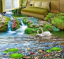 Cunguang 3D-Bodenbeläge Custom Luxus Wallpapergreen Blatt Dolphin Schlafzimmer Tapete 3D-Bodenbeläge wasserdicht Wand Papier 3D-Stock Wandmalereien