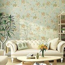 Cunguang Amerikanische Pastorale Dorf Haken Blume Aus Tapete 3D Geschnitzten Europäischen Stil Schlafzimmer Wohnzimmer 53Cmx1000Cm Hintergrund Blau Und Grün