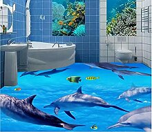 Cunguang Benutzerdefinierte Wandbild 3D-Bodenbeläge Bild Pvc Selbstklebend Tapeten Schlafzimmer Sea World Dolphin Dekor Malerei 3D Wandbilder Tapeten, 200 cm (L) x 100 cm (W)