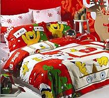 Cunguang Bettwäsche, Baumwolle, reine Baumwolle, vier Sätze von Weihnachten Paare von Bear cartoon Sansheng Suite, 1,5 m (5 Fuß) Be