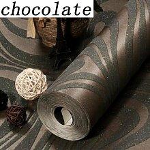 Cunguang Hohe Qualität 9,5 M * 0,53 M3D geprägtem Beflockung gestreifte Wandbild Tapeten Rollen modernes Wohnzimmer Tapete Schokolade 5,3 qm.