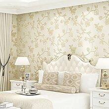 Cunguang Nicht Aus Tapete Blauen Und Weißen Porzellan Vlies Europäischen Stil Blume 3D Relief Schlafzimmer Wohnzimmer Hintergrund Tapete 53Cmx1000Cm Ein