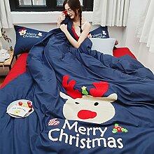 Cunguang Schleifen die vier Sätze aus reinem Baumwollgarn gefärbter Baumwolle warme Dicke bestickte Bettwäsche gebürstet Weihnachtsbaum 1.8m, frohe Weihnachten, MS, 1,5 m (5 Fuß) Bed