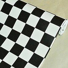 Cunguang Schwarz Weiß Gittermuster wasserdicht Wallpaper für Bad Küche Mosaik Pvc Selbstklebend Tapeten Home Decor Wall Paper