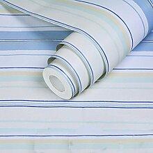Cunguang Selbstklebende bunt gestreiften Tapete Wohnzimmer Schlafzimmer Schlafzimmer Tapeten Möbel Renovierung Wallcoving, blau mit weißem Streifen, 5 M