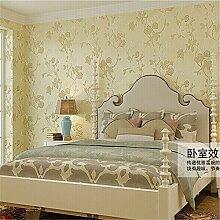 Cunguang Tapete Europäischen pastorale Non-Woven Wallpaper Beflockung geblümten Wand Papierrolle Kontakt Papier Beige 5,3 qm.