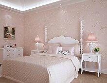 Cunguang Tapete Europäischen pastorale Non-Woven Wallpaper Beflockung geblümten Wand Papierrolle Kontakt Papier Pink 5,3 qm.