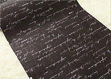 Cunguang Wand Papier für Wohnzimmer Vintage Schreiben Tapeten Rollen für Tv Hintergrund 3D Home Dekoration, Schwarz, 5,3 m²