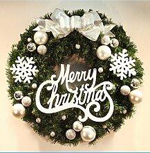 Cunguang Weihnachten Kranz Tannennadeln Weihnachten Dekoration Für Home Party Home Wanddekorationen Tür Kranz, Weiß, 50 Cm