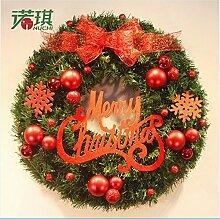 Cunguang Weihnachten Kranz Tannennadeln Weihnachten Dekoration Für Home Party Home Wanddekorationen Tür Kranz, Rot, 40 Cm
