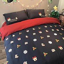 Cunguang Weihnachten reiner Baumwolle warmen vier Stücke, Herbst und Winter Baumwolle cartoon Bettbezug Bettwäsche, Handtuch bestickt bestickte drei Sets, Bettwäsche, Weihnachtsgeschenk, 1,8 m (6 Fuß) Bed