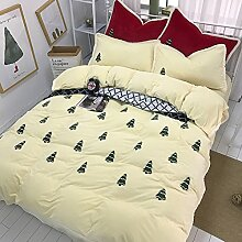 Cunguang Winter verdickt mit vier Stücken von cashmere Fleece, schön Aufgestickten Blumen auf dem Bett Bett, Weihnachtsbaum Steppdecke Bettwäsche, Beige, 1,8 m (6 Fuß) Bed