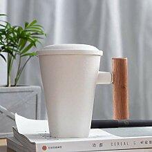 CUP Zarte Keramik Teetasse Becher Holzgriff Matte