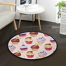 Cupcake Aquarell runder Teppich für Wohnzimmer