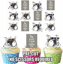 Cupcake-Dekoration Keep Calm / Schlagzeug–essbare Cupcake-Dekorationen (Packung mit 12 Stück)