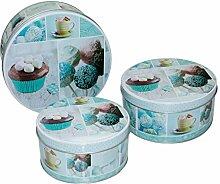 Cupcake Metall Keksdose Vorratsdose Blechdose Box Dosen 3er-Set Pastellfarbe Blau Türkis
