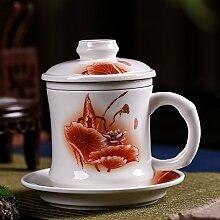 CUPWENH Becher Keramik Filter Tasse Tee Mit Deckel Home Offices Chef Tasse Wasser Kaffee Tassen Paket Tea Service, Coffee Se